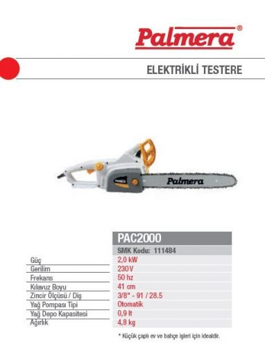 Palmera PAC2000 Elektrikli Testere 2000W 91 28.5 Diş