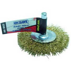 Hawk 75*10mm Sarı Telli Pimli Daire Fırçalar // HA-10133