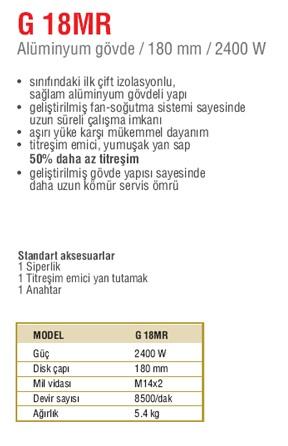 Hitachi G18MR Büyük Taşlama 180mm 2400W