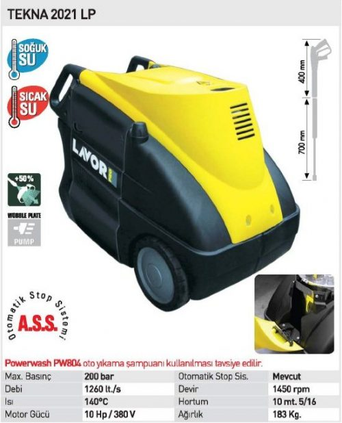 Lavor TEKNA 2021 LP / 200Bar 10Hp Monofaze Yüksek Basınçlı Sıcak ve Soğuk Yıkama Makinası