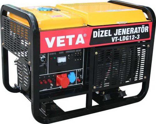 Veta VT-LDG12-3 / 13.7kW 20Hp Dizel Marşlı Çift Silindirli Trifaze Jeneratör