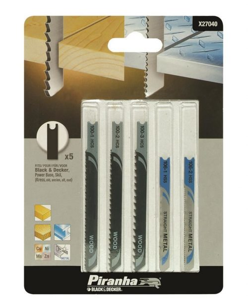 Black&Decker X27040 5 Parça U Tipi Ahşap/Metal Dekupaj Bıçak Seti