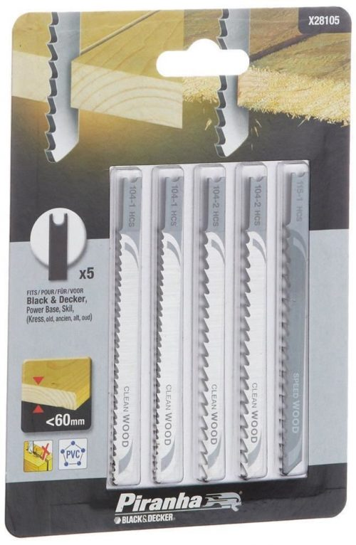 Black&Decker X28105 5 Parça U Tipi Ahşap Dekupaj Bıçak Seti