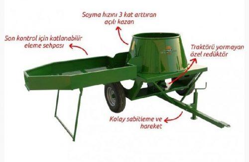 Traktörle Çalışan Sehpalı Zımparasız Ceviz Soyma Makinesi - 180 Litre