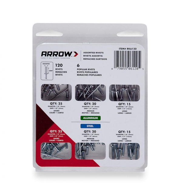 Arrow RK6120 3mm Alüminyum ve Çelik 120 Adet Perçin Seti